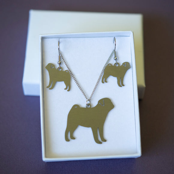 Pug Silhouette Necklace & Earrings Set