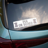 Black Pug on Board Bumper Sticker