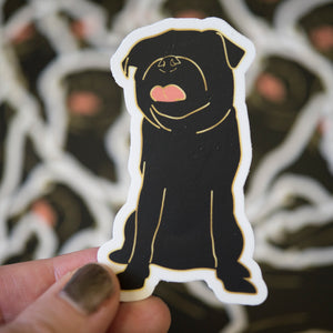 Faceless Black Pug Sticker