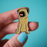 Faceless Fawn Pug Enamel Pin