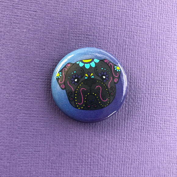 Sugar Skull Pug Button