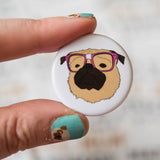 Nerdy Fawn Pug Button