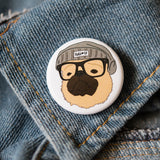 Hipster Fawn Pug Button
