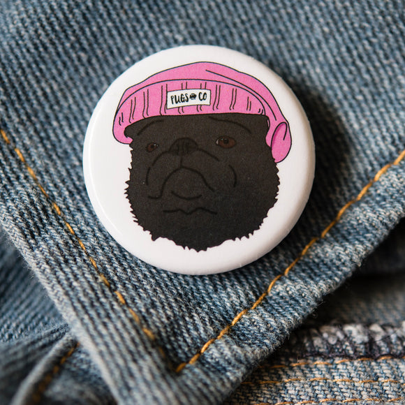 Black Thug Pug Button