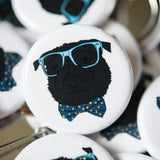 Dapper Black Pug Button