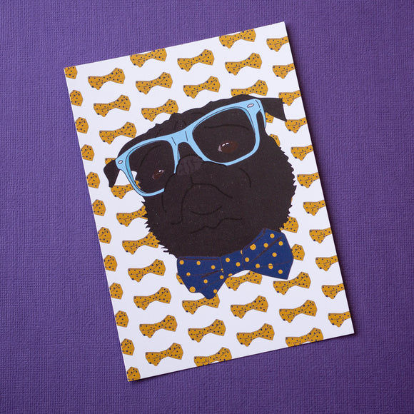 Pug & Bow Ties Postcard Print