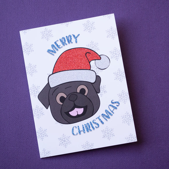 Merry Christmas Black Pug Christmas Card