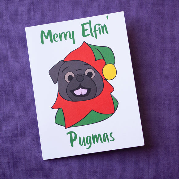 Merry Elfin' Pugmas Black Pug Christmas Card