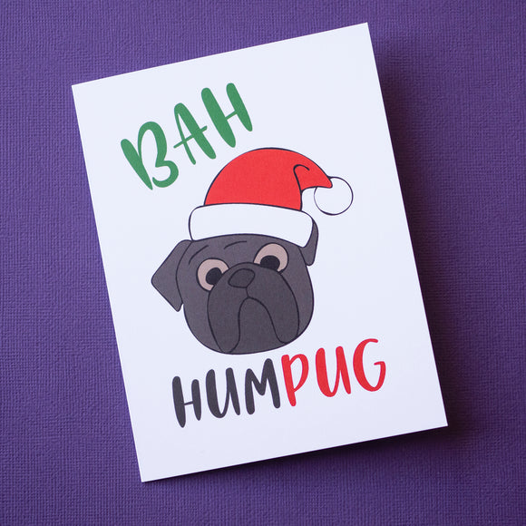 Bah Hum Pug Black Christmas Card
