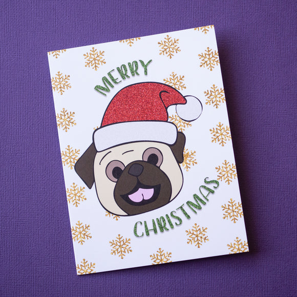 Merry Christmas Fawn Pug Christmas Card