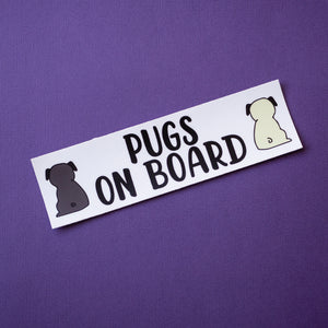 Pugs on Board Bumper Sticker