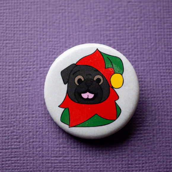 Black Elf Pug Button