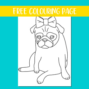 Lady Pug Colouring Page