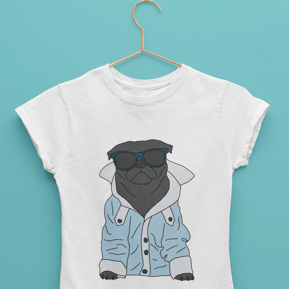 Cool Black Pug Unisex Surf T-Shirt (Made to Order)