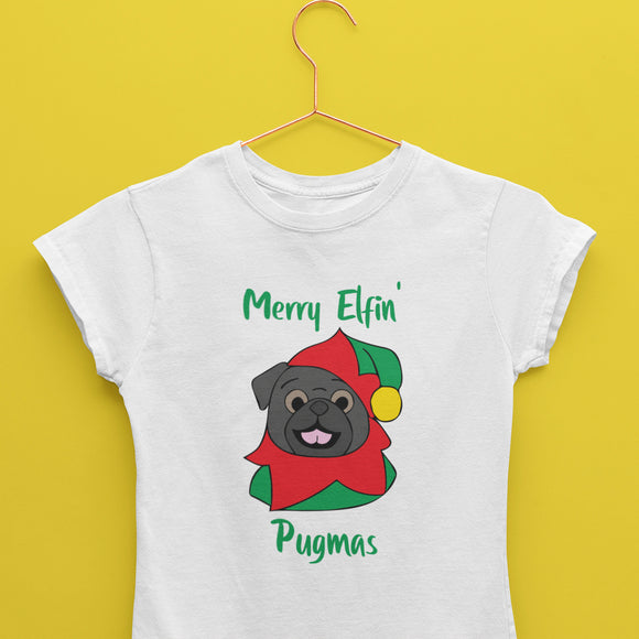 Merry Elfin' Pugmas Black T-Shirt (Made to Order)