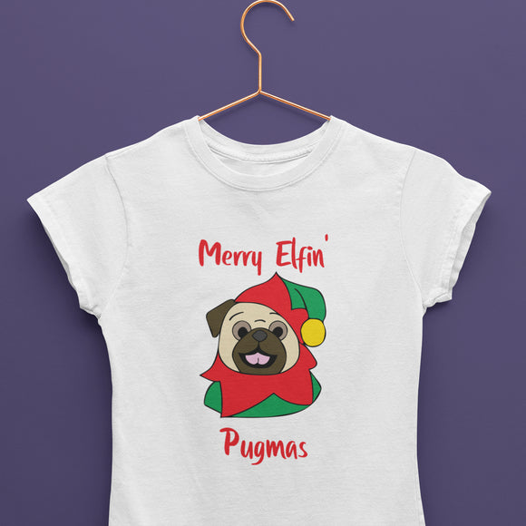 Merry Elfin' Pugmas Fawn T-Shirt (Made to Order)