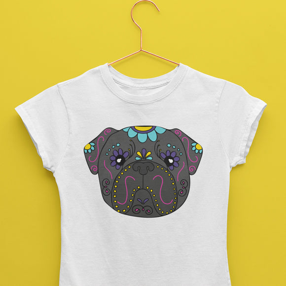 Sugar Skull Pug T-Shirt (Made to Order)