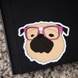 Nerdy Fawn Pug Sticker