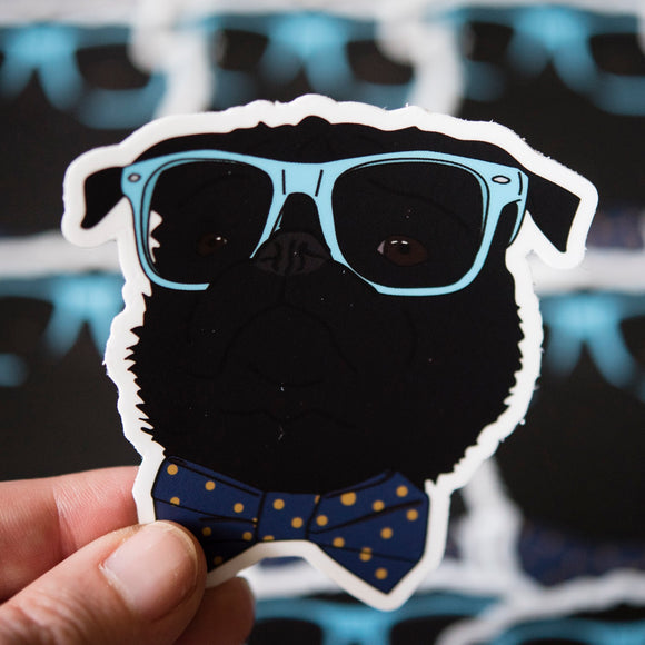 Dapper Black Pug Sticker