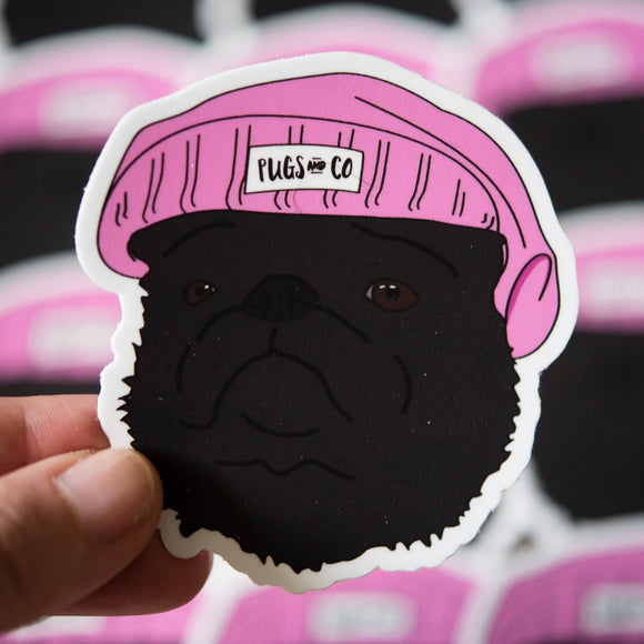 Black Thug Pug Sticker