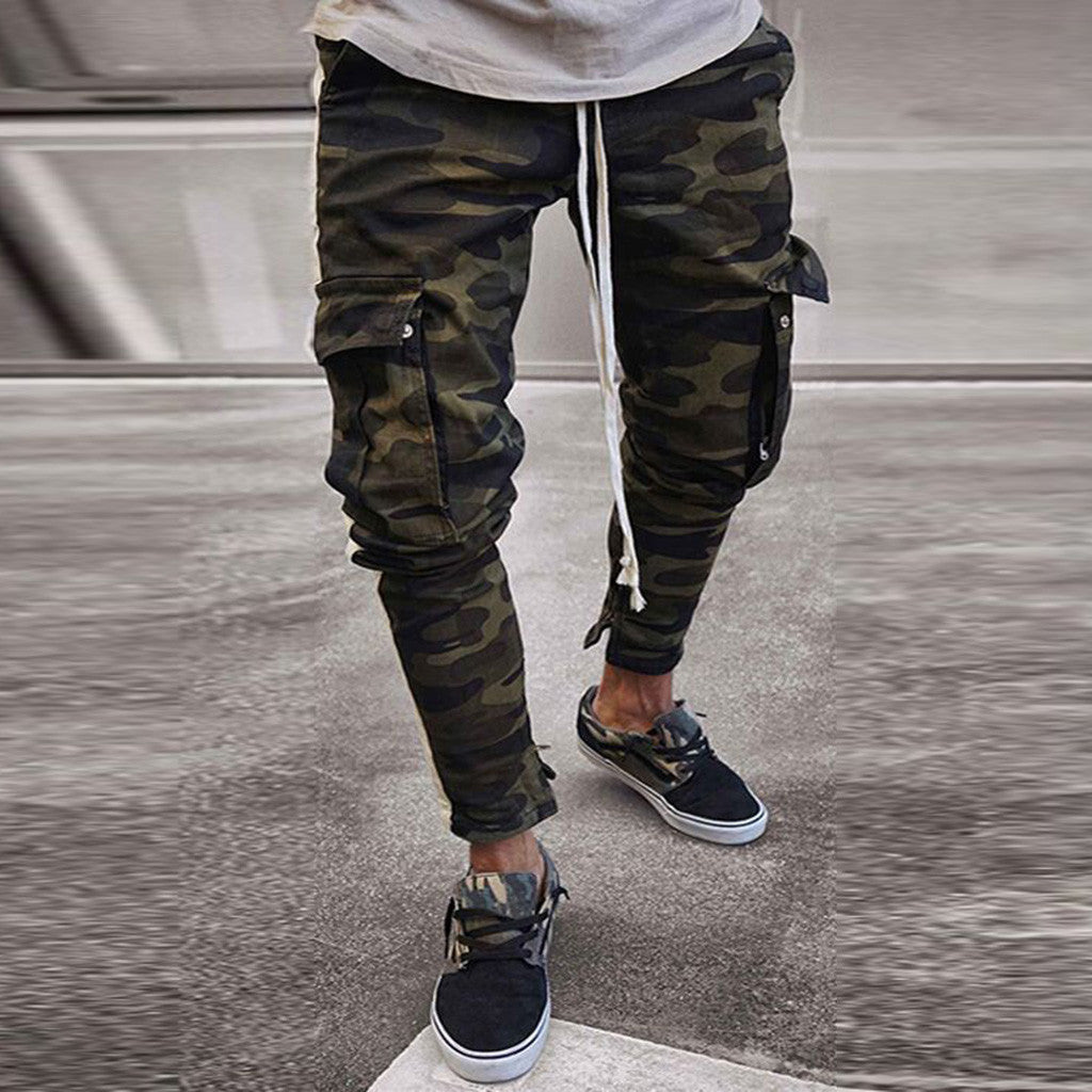 1ceff090 Mens Skinny Stretch Denim Pants Camouflage Pleated Ripped Freyed Slim Fit Jeans  Trousers 2019 Hot cargo