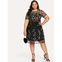 Floral Embroidered Mesh 2 in 1 Dress