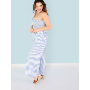 Button Detail Stripe Bandeau Top & Pants Set