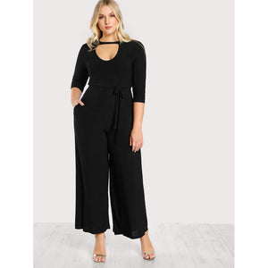 Double Keyhole Belted Palazzo Jumpsuit