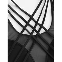 Mesh Panel Criss Cross Swimsuit