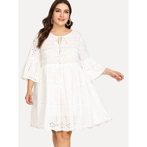 Eyelet Embroidery Tied Neck Smock Dress