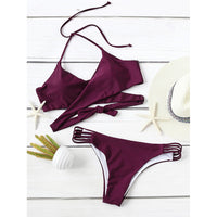 Ladder Cut Out Wrap Bikini Set