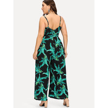 Belted Tropical Wrap Cami Jumpsuit