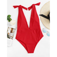Deep V Neck Knot Swimsuit