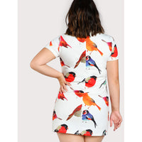 Allover Bird Print Dress