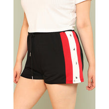 Contrast Snap Button Side Drawstring Waist Shorts