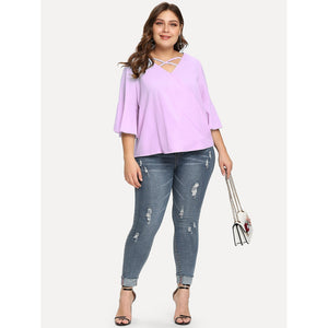 Crisscross V Neck Surplice Blouse