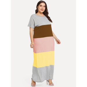 Cut And Sew Color Block Dress