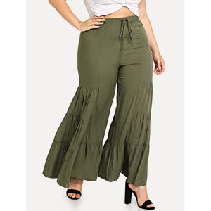 Drawstring Waist Tired Wide Leg Pants