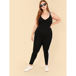 Contrast Panel Side Unitard Jumpsuit