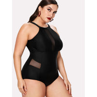 Mesh Panel High Neck Swimsuit
