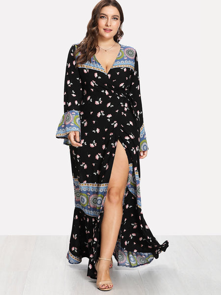 Deep V Neckline Fluted Sleeve Floral Print Dress