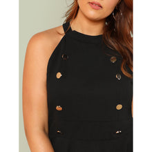 Button Detail Halter Peplum Top
