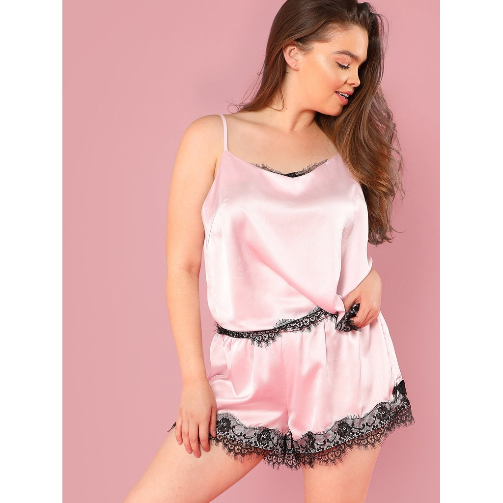 Contrast Eyelash Lace Cami Top & Shorts PJ Set