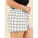 Self Tie Waist Grid Shorts