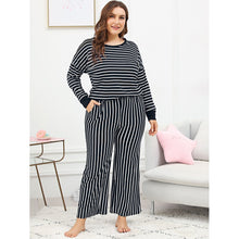 Drop Shoulder Striped Pajama Set