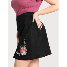 Faux Suede Floral Embroidered Skirt