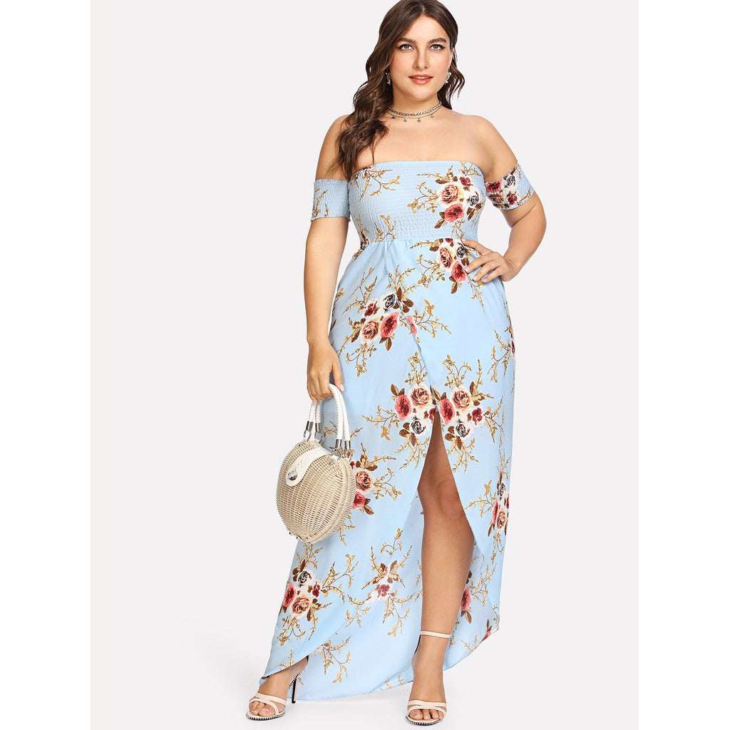 Floral Print Split Long Dress