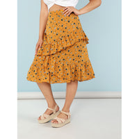 Asymmetrical Ruffle Trim Wrap Floral Skirt