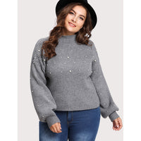 Drop Shoulder Pearl Beading Jumper