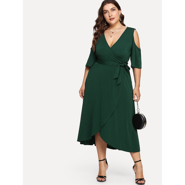 Cold Shoulder Belted Wrap Dress